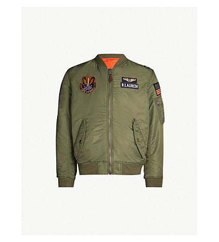 POLO RALPH LAUREN 军事启发的软壳面料飞行员夹克 (波希米亚 + 橄榄