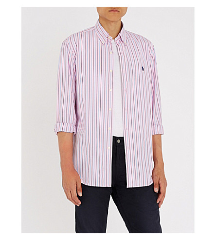 POLO RALPH LAUREN Striped regular-fit cotton shirt (2772+pink/navy