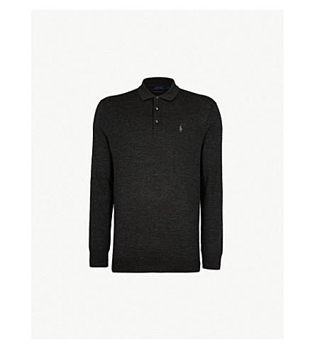 POLO RALPH LAUREN Logo-embroidery merino wool knitted polo shirt (Dark+granite+heather