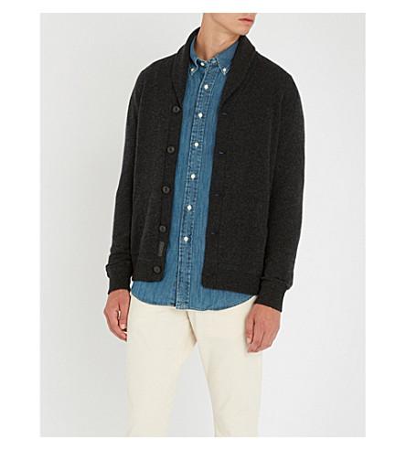 POLO RALPH LAUREN 披肩领羊毛开襟衫 (深 + 黑 + 石楠