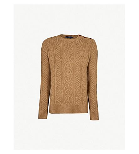 POLO RALPH LAUREN 针织羊毛毛衣 (骆驼 + 多内加尔
