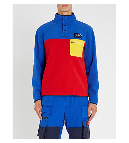 POLO RALPH LAUREN 高科技 colourblocked 羊毛卫衣 (Bright+royal/2000+red