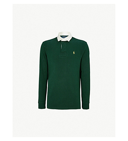 POLO RALPH LAUREN Cotton-jersey rugby polo shirt (College+green