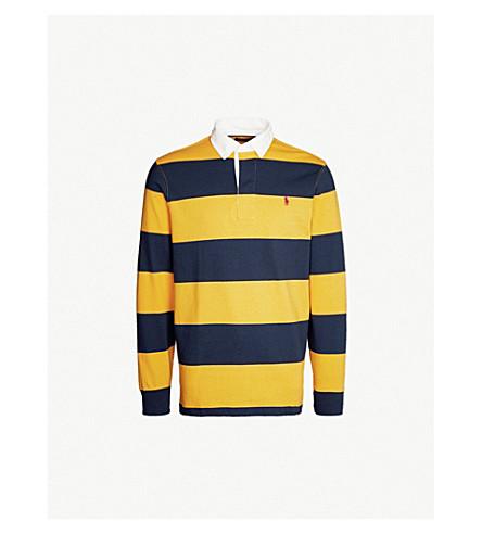 POLO RALPH LAUREN 条纹平纹针织棉橄榄球衬衣 (金子 + 号角/+ 纽波特 + 海军