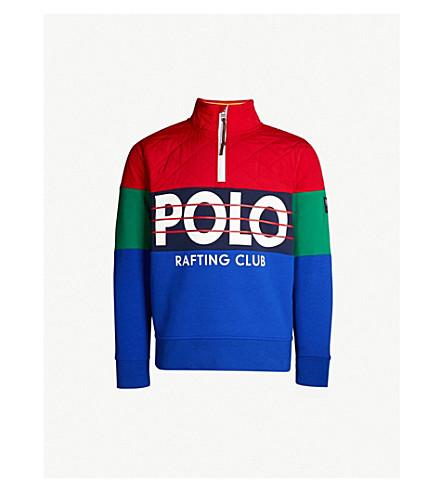 POLO RALPH LAUREN 徽标打印软壳面料和平纹针织面料卫衣 (体育 + 红/纽波特 + 海军