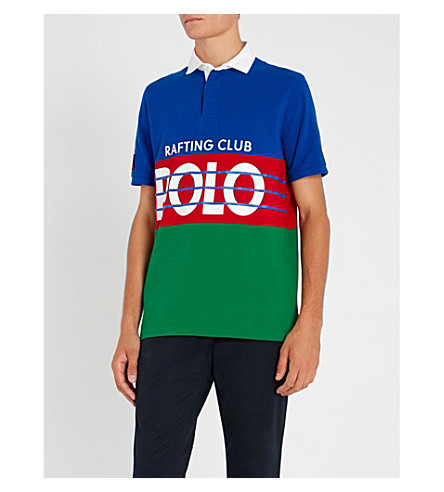 POLO RALPH LAUREN 条纹棉质珠地布 Polo 衫 (橄榄球 + 皇家 + 多
