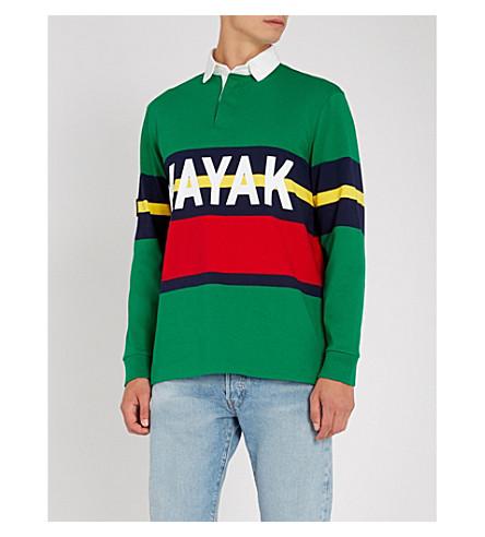 POLO RALPH LAUREN 皮划艇打印平纹针织棉 Polo 衫 (英文 + 绿色 + 多