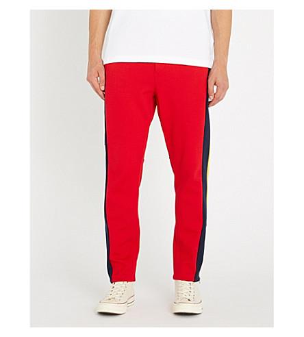 POLO RALPH LAUREN 徽标打印镶板平纹针织棉慢跑裤 (马球 + 运动 + 红色 + 多
