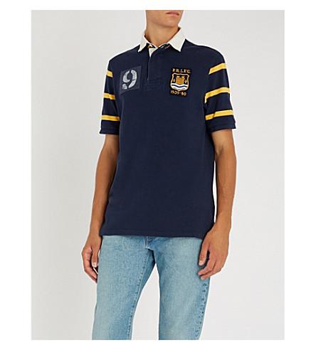 POLO RALPH LAUREN 橄榄球徽章棉质 Polo 衫 (巡航 + 海军 + 多