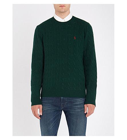 POLO RALPH LAUREN Cable-knit wool-blend jumper (College+green