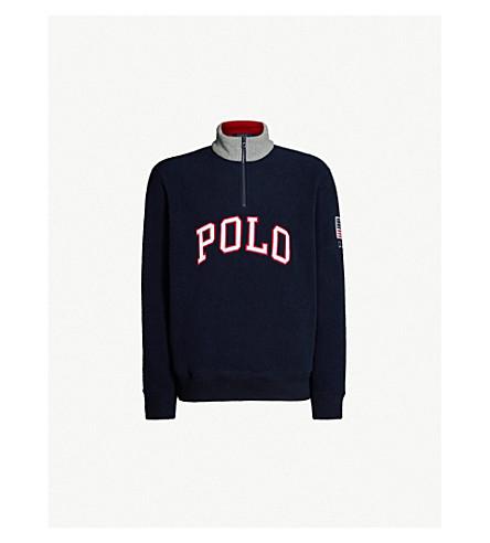 POLO RALPH LAUREN Logo-appliqué woven sweater (Aviator navy