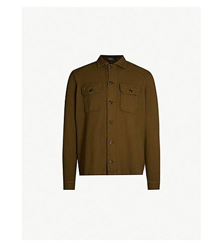 POLO RALPH LAUREN 军事启发的棉开襟衫 (公司 + 橄榄