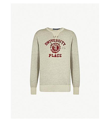 POLO RALPH LAUREN Logo-print cotton-jersey jumper (Stadium+pepper+heather