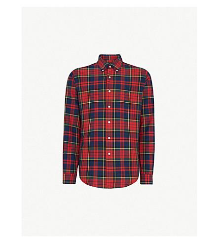 POLO RALPH LAUREN 常规版型格子打印棉衬衫 (深红色/金丝雀 + 多