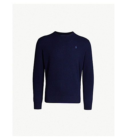 POLO RALPH LAUREN Logo-embroidered cashmere sweater (Bright navy