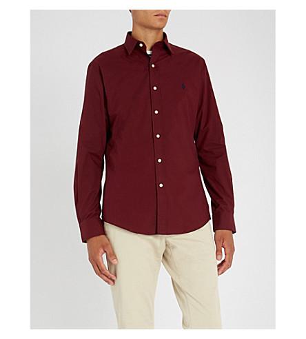 POLO RALPH LAUREN 刺绣标志修身版型单袖衬衫 (秋季 + 勃艮第