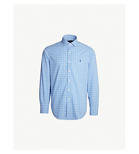 POLO RALPH LAUREN Logo-embroidered slim-fit gingham cotton shirt (Powder/navy