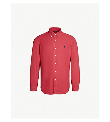 POLO RALPH LAUREN Logo-embroidered regular-fit cotton shirt (Chili pepper