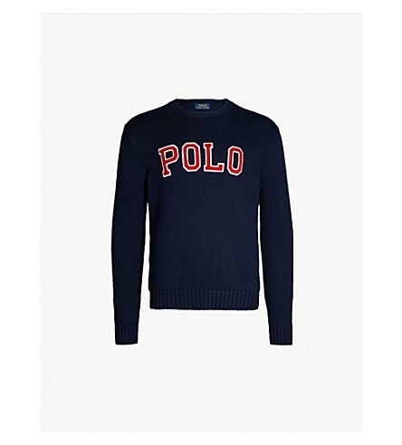 POLO RALPH LAUREN Logo-embroidered crewneck knitted sweater (Hunter navy