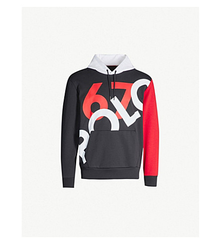 POLO RALPH LAUREN Graphic contrast-panel stretch-jersey hoody (Polo black
