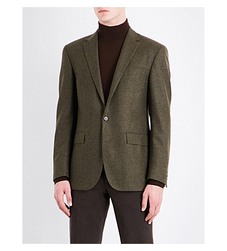 POLO RALPH LAUREN Hopsack-weave custom-fit wool jacket (Olive