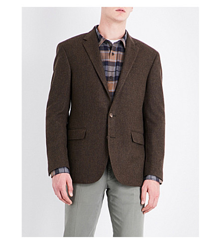 POLO RALPH LAUREN Herringbone-pattern slim-fit wool jacket (Brown