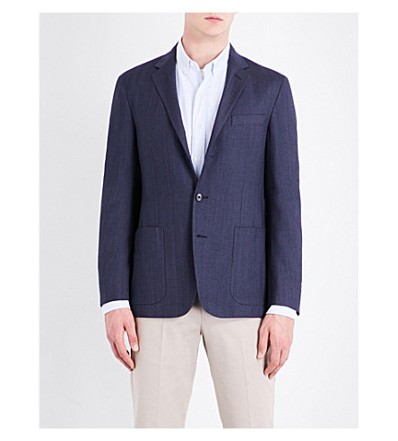 POLO RALPH LAUREN Herringbone slim-fit wool-blend jacket (Navy