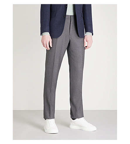POLO RALPH LAUREN 壁画规则适合平直的羊毛长裤 (灰色