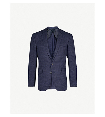 POLO RALPH LAUREN Checked custom-fit woven jacket (Navy