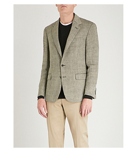POLO RALPH LAUREN Polo notch-lapel linen and silk-blend jacket (Black+and+cream