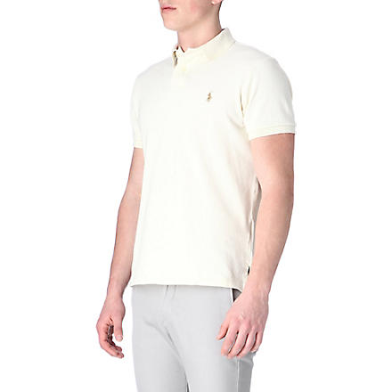 RALPH LAUREN Custom–fit mesh polo shirt (Chic cream/od g
