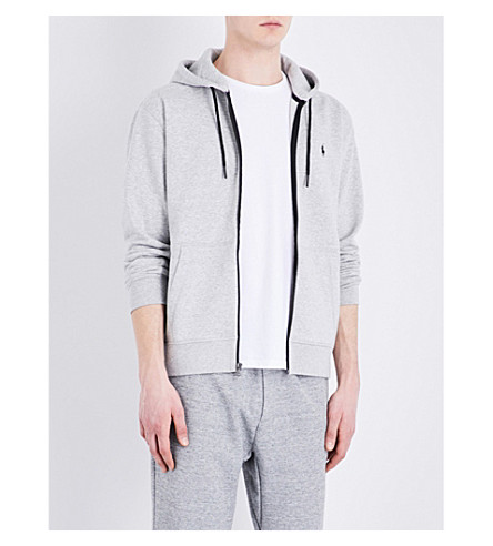 POLO RALPH LAUREN Contrast-zip cotton-blend hoody (Spring+heather