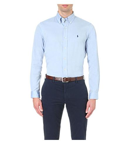 POLO RALPH LAUREN Oxford custom-fit single cuff shirt A4024 blue Buy Cheap Eastbay bAESFc