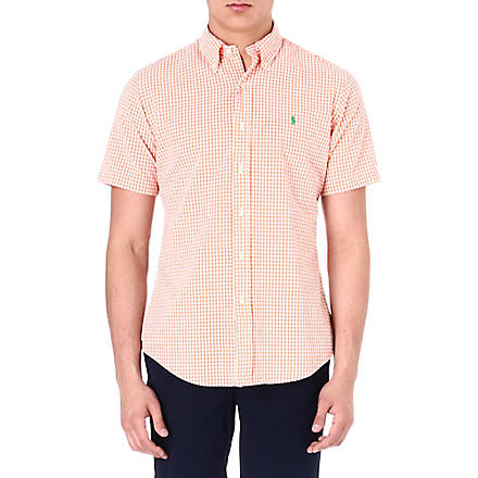 RALPH LAUREN Custom-fit gingham-print sport shirt (Su23b-orange/wh