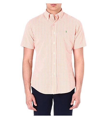 RALPH LAUREN Custom-fit gingham-print sport shirt (Su23b-orange/wh