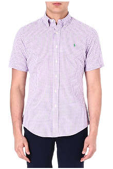 RALPH LAUREN Custom-fit gingham-print sport shirt