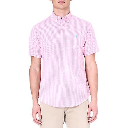 RALPH LAUREN Custom-fit gingham-print sport shirt (Su23e-pink/whit