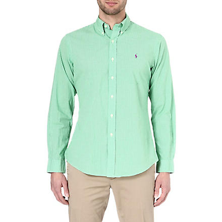 RALPH LAUREN Custom-fit button-down shirt (Sp33b-green/whi