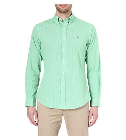 RALPH LAUREN Custom-fit button-down shirt (Sp33b-green/whi