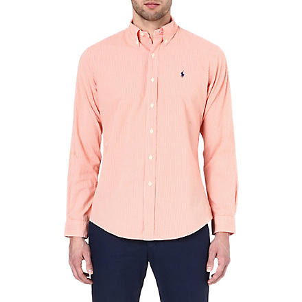 RALPH LAUREN Button down polo player shirt (Sp33c-orange/wh