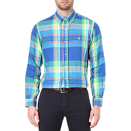 RALPH LAUREN Printed linen shirt (Cr48b-royal/gre