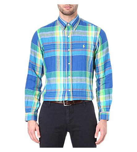 RALPH LAUREN Printed linen shirt (Cr48b-royal/gre