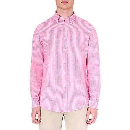 RALPH LAUREN Printed linen shirt (Su32a-pink/whit