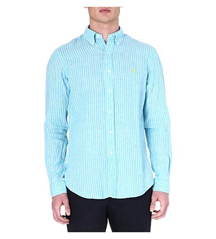 RALPH LAUREN Printed linen shirt (Su32b-turquoise
