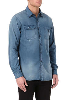RALPH LAUREN Custom-fit bleach-effect denim shirt
