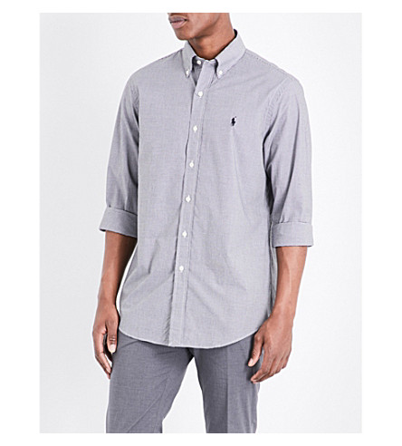 POLO RALPH LAUREN Standard-fit single-cuff striped cotton shirt (Black+white+che