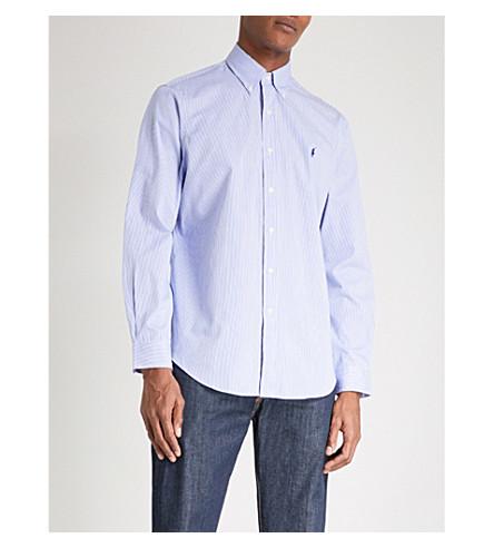 POLO RALPH LAUREN Standard-fit single-cuff striped cotton shirt (Blue+wht+stripe