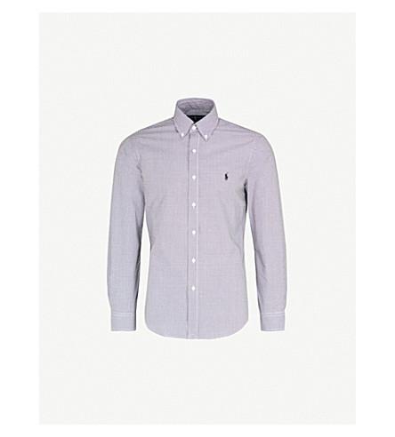 POLO RALPH LAUREN Slim-fit single-cuff cotton shirt (Blk+wht+gingham