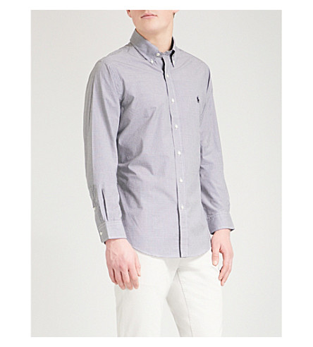 POLO RALPH LAUREN Slim-fit single-cuff cotton shirt (Blk+wht+gingham