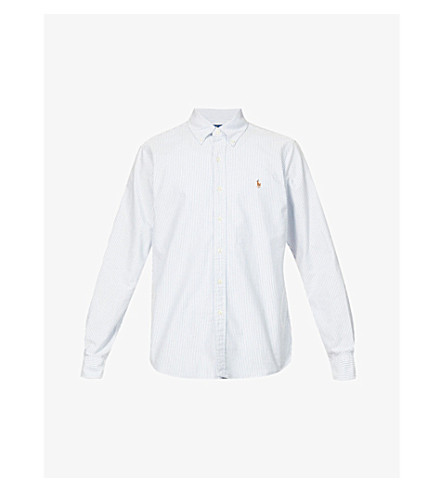 POLO RALPH LAUREN Standard-fit single-cuff cotton shirt (Bsr+blu/wht